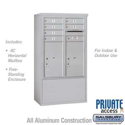 Free-Standing 4C Horizontal Mailbox Unit (Includes 3710D-06 Mailbox and 3910D Enclosure) - 10 Door High Unit (52 7/8 Inches) - Double Column - 6 MB1 Doors / 2 PL6's - Front Loading - Private Access