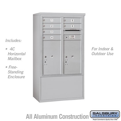 Free-Standing 4C Horizontal Mailbox Unit (Includes 3710D-06 Mailbox and 3910D Enclosure) - 10 Door High Unit (52-3/4 Inches) - Double Column - 6 MB1 Doors / 2 PL6's - Front Loading - USPS Access