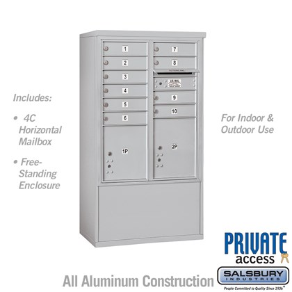Free-Standing 4C Horizontal Mailbox Unit (includes 3710D-10 Mailbox and 3910D Enclosure) - 10 Door High Unit (52 7/8 Inches) - Double Column - 10 MB1 Doors / 1 PL4 and 1 PL4.5 - Front Loading - Private Access
