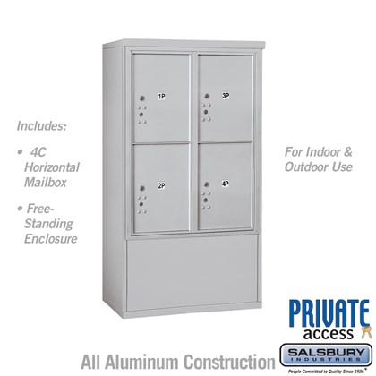 Free-Standing 4C Horizontal Mailbox Unit (Includes 3710D-4P Mailbox and 3910D Enclosure) - 10 Door High Unit (52 7/8 Inches) - Double Column - Stand-Alone Parcel Locker - 4 PL5's - Front Loading - Private Access