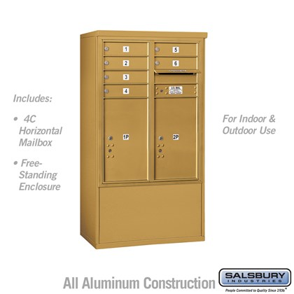 Free-Standing 4C Horizontal Mailbox ADA Height Compliant Unit (Includes 3710DA-06GFU Mailbox and 3910DX-GLD Enclosure) - 10 Door High Unit (52-3/4 Inches) - Double Column - 6 MB1 Doors / 2 PL6's - Gold - Front Loading -USPS Access