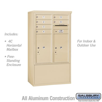 Free-Standing 4C Horizontal Mailbox ADA Height Compliant Unit (Includes 3710DA-06SFU Mailbox and 3910DX-SAN Enclosure) - 10 Door High Unit (52-3/4 Inches) - Double Column - 6 MB1 Doors / 2 PL6's - Sandstone - Front Loading - USPS Access