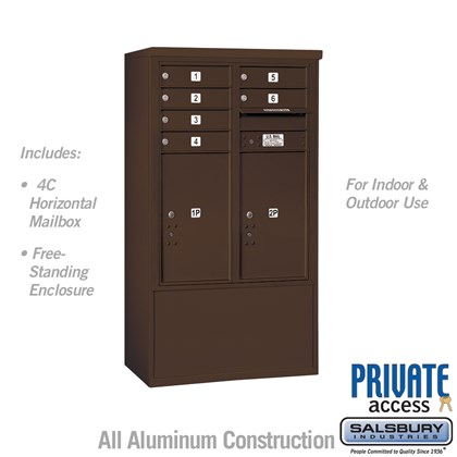 Free-Standing 4C Horizontal Mailbox ADA Height Compliant Unit (Includes 3710DA-06ZFP Mailbox, 3910DX-BRZ Enclosure and Master Commercial Locks) - 10 Door High Unit (52-3/4 Inches) - Double Column - 6 MB1 Doors / 2 PL6's - Bronze - Front Loading - Private