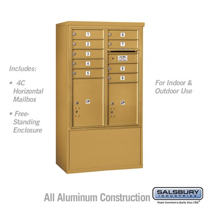 Free-Standing 4C Horizontal Mailbox ADA Height Compliant Unit (Includes 3710DA-09GFU Mailbox, and 3910DX-GLD Enclosure) - 10 Door High Unit (52-3/4 Inches) - Double Column - 9 MB1 Doors / 1 PL4.5 and 1 PL5 - Gold - Front Loading - USPS Access