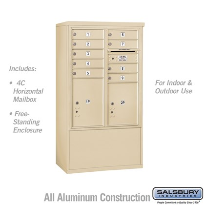 Free-Standing 4C Horizontal Mailbox ADA Height Compliant Unit (Includes 3710DA-09SFU Mailbox, and 3910DX-SAN Enclosure) - 10 Door High Unit (52-3/4 Inches) - Double Column - 9 MB1 Doors / 1 PL4.5 and 1 PL5 - Sandstone - Front Loading - USPS Access