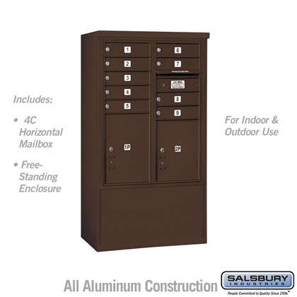 Free-Standing 4C Horizontal Mailbox ADA Height Compliant Unit (Includes 3710DA-09ZFU Mailbox, and 3910DX-BRZ Enclosure) - 10 Door High Unit (52-3/4 Inches) - Double Column - 9 MB1 Doors / 1 PL4.5 and 1 PL5 - Bronze - Front Loading - USPS Access