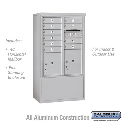 Free-Standing 4C Horizontal Mailbox ADA Height Compliant Unit (Includes 3710DA-10AFU Mailbox and 3910DX-ALM Enclosure) - 10 Door High Unit (52-3/4 Inches) - Double Column - 10 MB1 Doors / 1 PL4 and 1 PL4.5 - Aluminum - Front Loading - USPS Access