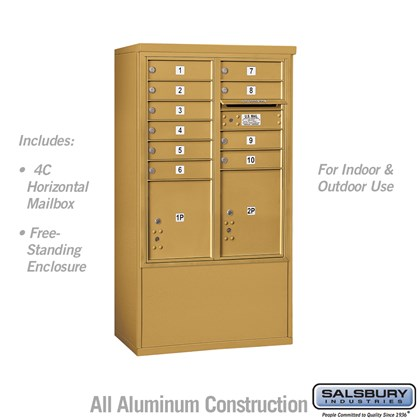 Free-Standing 4C Horizontal Mailbox ADA Height Compliant Unit (Includes 3710DA-10GFU Mailbox and 3910DX-GLD Enclosure) - 10 Door High Unit (52-3/4 Inches) - Double Column - 10 MB1 Doors / 1 PL4 and 1 PL4.5 - Gold - Front Loading - USPS Access