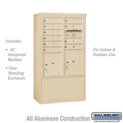 Free-Standing 4C Horizontal Mailbox ADA Height Compliant Unit (Includes 3710DA-10SFU Mailbox and 3910DX-SAN Enclosure) - 10 Door High Unit (52-3/4 Inches) - Double Column - 10 MB1 Doors / 1 PL4 and 1 PL4.5 - Sandstone - Front Loading - USPS Access