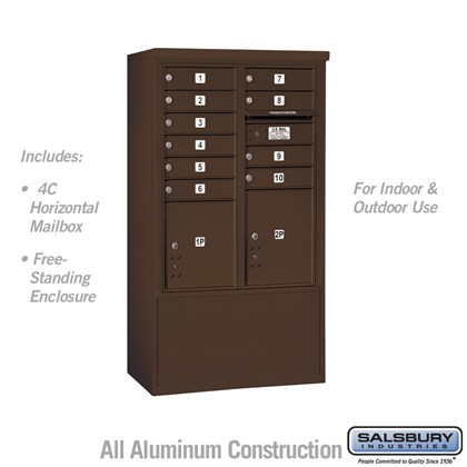 Free-Standing 4C Horizontal Mailbox ADA Height Compliant Unit (Includes 3710DA-10ZFU Mailbox and 3910DX-BRZ Enclosure) - 10 Door High Unit (52-3/4 Inches) - Double Column - 10 MB1 Doors / 1 PL4 and 1 PL4.5 - Bronze - Front Loading - USPS Access