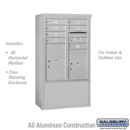 Free-Standing 4C Horizontal Mailbox ADA Height Compliant Unit (Includes 3710D-07AFU Mailbox and 3910DX-ALM Enclosure) - 10 Door High Unit (52-3/4 Inches) - Double Column - 7 MB1 Doors / 1 PL5 and 1 PL6 - Aluminum - Front Loading - USPS Access