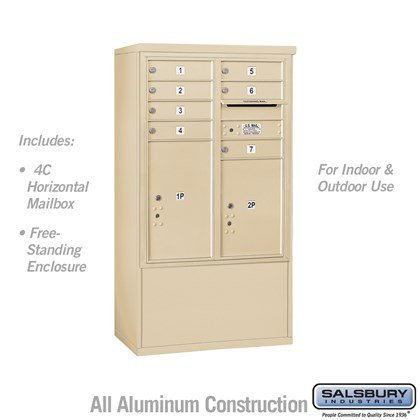 Free-Standing 4C Horizontal Mailbox ADA Height Compliant Unit (Includes 3710D-07SFU Mailbox and 3910DX-SAN Enclosure) - 10 Door High Unit (52-3/4 Inches) - Double Column - 7 MB1 Doors / 1 PL5 and 1 PL6 - Sandstone - Front Loading - USPS Access