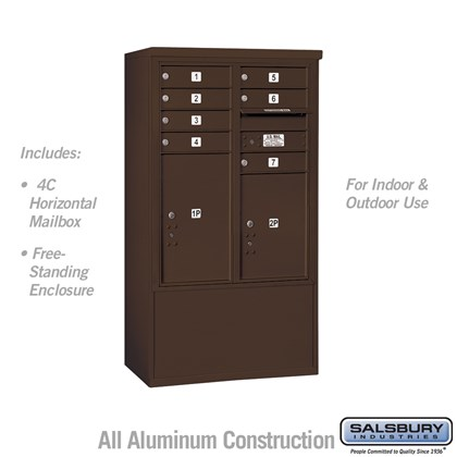 Free-Standing 4C Horizontal Mailbox ADA Height Compliant Unit (Includes 3710D-07ZFU Mailbox and 3910DX-BRZ Enclosure) - 10 Door High Unit (52-3/4 Inches) - Double Column - 7 MB1 Doors / 1 PL5 and 1 PL6 - Bronze - Front Loading - USPS Access