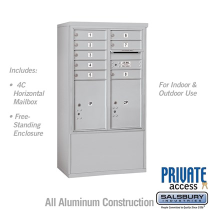 Free-Standing 4C Horizontal Mailbox ADA Height Compliant Unit (Includes 3710D-08 Mailbox, 3910DX Enclosure and Master Commercial Locks) - 10 Door High Unit (52-3/4 Inches) - Double Column - 8 MB1 Doors / 2 PL5's - Front Loading - Private Access