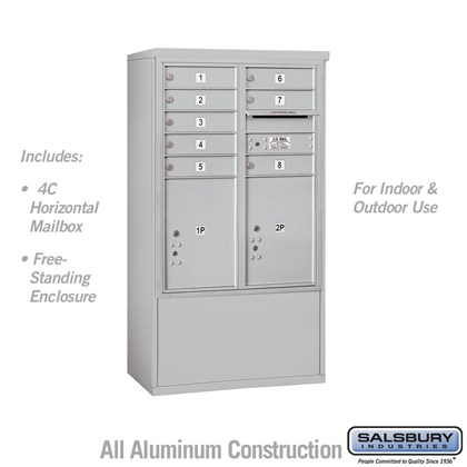 Free-Standing 4C Horizontal Mailbox ADA Height Compliant Unit (Includes 3710D-08 Mailbox and 3910DX Enclosure) - 10 Door High Unit (52-3/4 Inches) - Double Column - 8 MB1 Doors / 2 PL5's - Front Loading - USPS Access