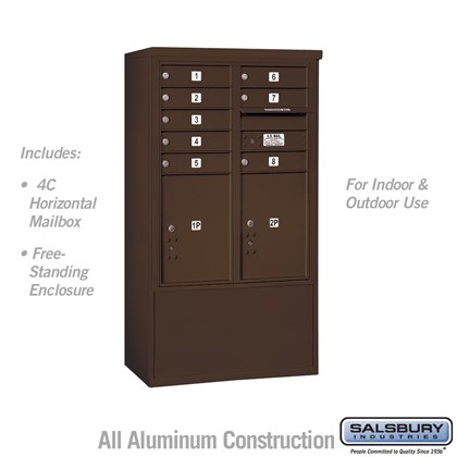 Free-Standing 4C Horizontal Mailbox ADA Height Compliant Unit (Includes 3710D-08ZFU Mailbox and 3910DX-BRZ Enclosure) - 10 Door High Unit (52-3/4 Inches) - Double Column - 8 MB1 Doors / 2 PL5's - Bronze - Front Loading - USPS Access