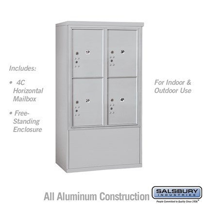 Free-Standing 4C Horizontal Mailbox ADA Height Compliant Unit (Includes 3710D-4P Mailbox and 3910DX Enclosure) - 10 Door High Unit (52-3/4 Inches) - Double Column - Stand-Alone Parcel Locker - 4 PL5's - Front Loading - USPS Access