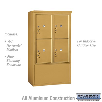 Free-Standing 4C Horizontal Mailbox ADA Height Compliant Unit (Includes 3710D-4PGFU Mailbox and 3910DX-GLD Enclosure) - 10 Door High Unit (52-3/4 Inches) - Double Column - Stand-Alone Parcel Locker - 4 PL5's - Gold - Front Loading - USPS Access
