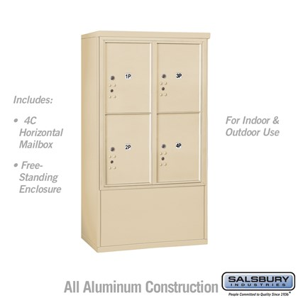 Free-Standing 4C Horizontal Mailbox ADA Height Compliant Unit (Includes 3710D-4PSFU Mailbox and 3910DX-SAN Enclosure) - 10 Door High Unit (52-3/4 Inches) - Double Column - Stand-Alone Parcel Locker - 4 PL5's - Sandstone - Front Loading - USPS Access