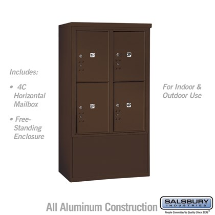 Free-Standing 4C Horizontal Mailbox ADA Height Compliant Unit (Includes 3710D-4PZFU Mailbox and 3910DX-BRZ Enclosure) - 10 Door High Unit (52-3/4 Inches) - Double Column - Stand-Alone Parcel Locker - 4 PL5's - Bronze - Front Loading - USPS Access