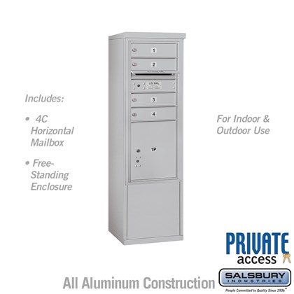 Free-Standing 4C Horizontal Mailbox Unit (Includes 3710S-04 Mailbox and 3910S Enclosure) - 10 Door High Unit (52 7/8 Inches) - Single Column - 4 MB1 Doors / 1 PL4.5 - Front Loading - Private Access