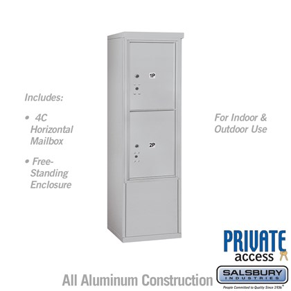 Free-Standing 4C Horizontal Mailbox Unit (Includes 3710S-2P Mailbox and 3910S Enclosure) - 10 Door High Unit (52 7/8 Inches) - Single Column - Stand-Alone Parcel Locker - 2 PL5's - Front Loading - Private Access