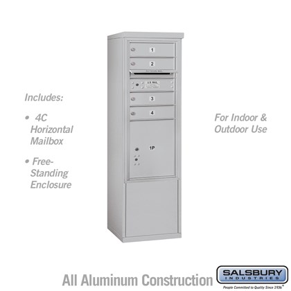 Free-Standing 4C Horizontal Mailbox ADA Height Compliant Unit (Includes 3710SA-04AFU Mailbox, and 3910SX-ALM Enclosure) - 10 Door High Unit (52-3/4 Inches) - Single Column - 4 MB1 Doors / 1 PL4.5 - Aluminum - Front Loading - USPS Access