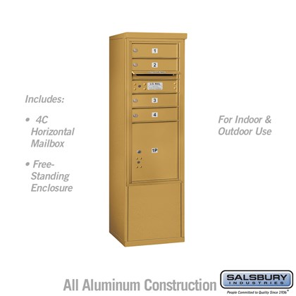 Free-Standing 4C Horizontal Mailbox ADA Height Compliant Unit (Includes 3710SA-04GFU Mailbox, and 3910SX-GLD Enclosure) - 10 Door High Unit (52-3/4 Inches) - Single Column - 4 MB1 Doors / 1 PL4.5 - Gold - Front Loading - USPS Access