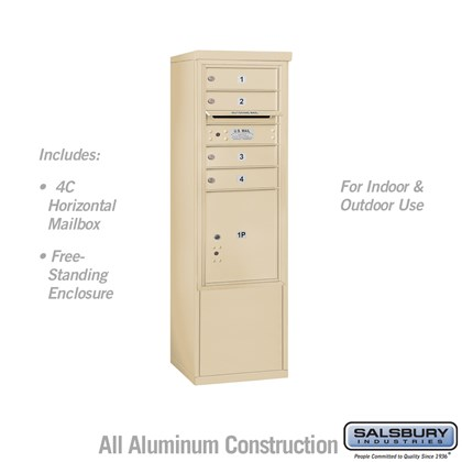 Free-Standing 4C Horizontal Mailbox ADA Height Compliant Unit (Includes 3710SA-04SFU Mailbox, and 3910SX-SAN Enclosure) - 10 Door High Unit (52-3/4 Inches) - Single Column - 4 MB1 Doors / 1 PL4.5 - Sandstone - Front Loading - USPS Access