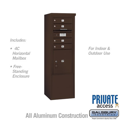Free-Standing 4C Horizontal Mailbox ADA Height Compliant Unit (Includes 3710SA-04ZFP Mailbox, 3910SX-BRZ Enclosure and Master Commercial Locks ) - 10 Door High Unit (52-3/4 Inches) - Single Column - 4 MB1 Doors / 1 PL4.5 - Bronze - Front Loading - Private