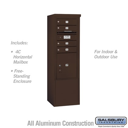 Free-Standing 4C Horizontal Mailbox ADA Height Compliant Unit (Includes 3710SA-04ZFU Mailbox, and 3910SX-BRZ Enclosure) - 10 Door High Unit (52-3/4 Inches) - Single Column - 4 MB1 Doors / 1 PL4.5 - Bronze - Front Loading - USPS Access