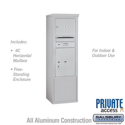 Free-Standing 4C Horizontal Mailbox ADA Height Compliant Unit (Includes 3710S-01 Mailbox, 3910SX Enclosure and Master Commercial Locks) - 10 Door High Unit (52-3/4 Inches) - Single Column - 1 MB3 Door / 1 PL5 - Front Loading - Private Access