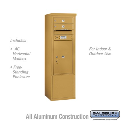 Free-Standing 4C Horizontal Mailbox ADA Height Compliant Unit (Includes 3710S-02GFU Mailbox, and 3910SX-GLD Enclosure) - 10 Door High Unit (52-3/4 Inches) - Single Column - 2 MB1 Doors / 1 PL6 - Gold - Front Loading - USPS Access
