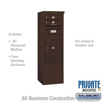 Free-Standing 4C Horizontal Mailbox ADA Height Compliant Unit (Includes 3710S-02ZFP Mailbox, 3910SX-BRZ Enclosure and Master Commercial Locks) - 10 Door High Unit (52-3/4 Inches) - Single Column - 2 MB1 Doors / 1 PL6 - Bronze - Front Loading - Private Acc