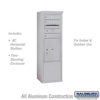Free-Standing 4C Horizontal Mailbox ADA Height Compliant Unit (Includes 3710S-03AFU Mailbox, and 3910SX-ALM Enclosure) - 10 Door High Unit (52-3/4 Inches) - Single Column - 3 MB1 Doors / 1 PL5 - Aluminum - Front Loading - USPS Access