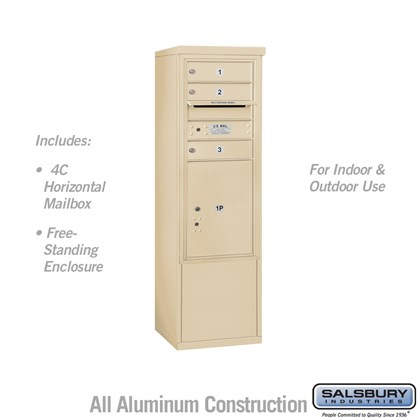 Free-Standing 4C Horizontal Mailbox ADA Height Compliant Unit (Includes 3710S-03SFU Mailbox, and 3910SX-SAN Enclosure) - 10 Door High Unit (52-3/4 Inches) - Single Column - 3 MB1 Doors / 1 PL5 - Sandstone - Front Loading - USPS Access