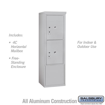 Free-Standing 4C Horizontal Mailbox ADA Height Compliant Unit (Includes 3710S-2P Mailbox and 3910SX Enclosure) - 10 Door High Unit (52-3/4 Inches) - Single Column - Stand-Alone Parcel Locker - 2 PL5's - Front Loading - USPS Access