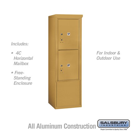 Free-Standing 4C Horizontal Mailbox ADA Height Compliant Unit (Includes 3710S-2PGFU Mailbox, and 3910SX-GLD Enclosure) - 10 Door High Unit (52-3/4 Inches) - Single Column - Stand-Alone Parcel Locker - 2 PL5's - Gold - Front Loading - USPS Access