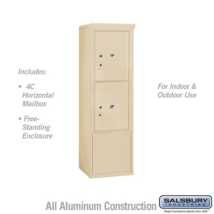 Free-Standing 4C Horizontal Mailbox ADA Height Compliant Unit (Includes 3710S-2PSFU Mailbox, and 3910SX-SAN Enclosure) - 10 Door High Unit (52-3/4 Inches) - Single Column - Stand-Alone Parcel Locker - 2 PL5's - Sandstone - Front Loading - USPS Access