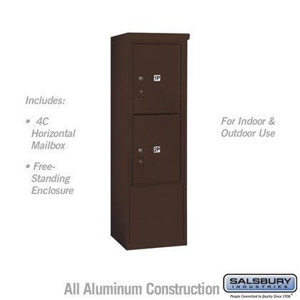 Free-Standing 4C Horizontal Mailbox ADA Height Compliant Unit (Includes 3710S-2PZFU Mailbox, and 3910SX-BRZ Enclosure) - 10 Door High Unit (52-3/4 Inches) - Single Column - Stand-Alone Parcel Locker - 2 PL5's - Bronze - Front Loading - USPS Access