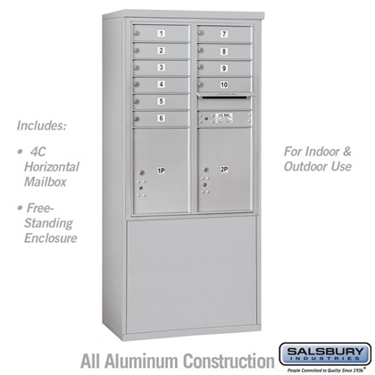 Free-Standing 4C Horizontal Mailbox Unit (Includes 3711D-10 Mailbox and 3911D Enclosure) - 11 Door High Unit (69 3/8 Inches) - Double Column - 10 MB1 Doors / 2 PL5's