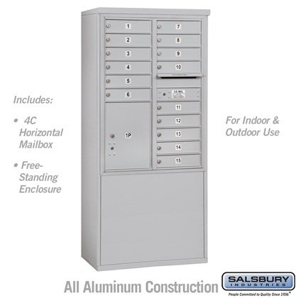 Free-Standing 4C Horizontal Mailbox Unit (Includes 3711D-15 Mailbox and 3911D Enclosure) - 11 Door High Unit (69-1/4 Inches) - Double Column - 15 MB1 Doors / 1 PL5