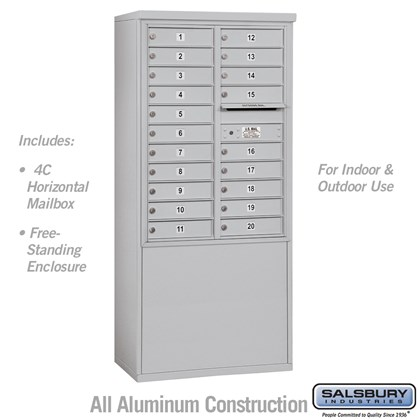Free-Standing 4C Horizontal Mailbox Unit (Includes 3711D-20 Mailbox and 3911D Enclosure) - 11 Door High Unit (69-3/8 Inches) - Double Column - 20 MB1 Doors - USPS Access