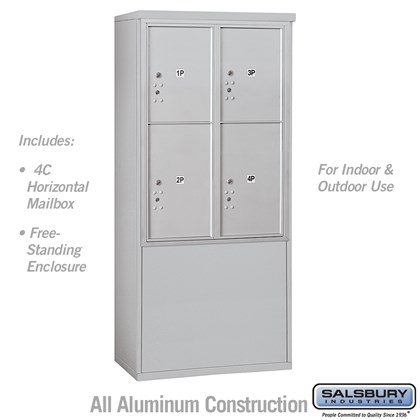 Free-Standing 4C Horizontal Mailbox Unit (Includes 3711D-4P Mailbox and 3911D Enclosure) - 11 Door High Unit (Includes (69 3/8 Inches) - Double Column - Stand-Alone Parcel Locker - 2 PL5's and 2 PL6's - Front Loading - USPS Access