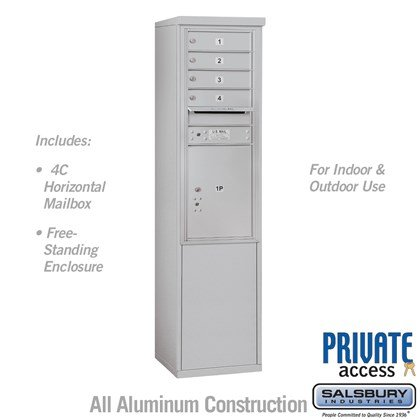 Free-Standing 4C Horizontal Mailbox Unit (Includes 3711S-04 Mailbox and 3911S Enclosure) - 11 Door High Unit (69 3/8 Inches) - Single Column - 4 MB 1 Doors / 1 PL5 - Private Access