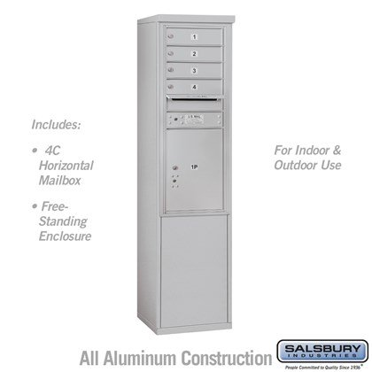 Free-Standing 4C Horizontal Mailbox Unit (Includes 3711S-04 Mailbox and 3911S Enclosure) - 11 Door High Unit (69-1/4 Inches) - Single Column - 4 MB 1 Doors / 1 PL5