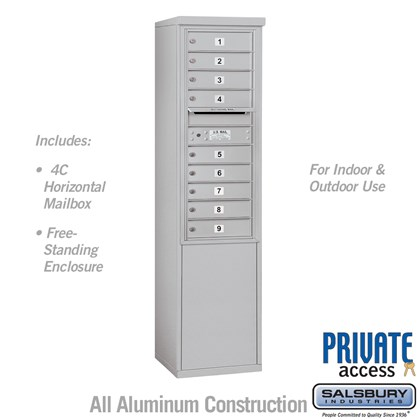 Free-Standing 4C Horizontal Mailbox Unit (Includes 3711S-09 Mailbox and 3911S Enclosure) - 11 Door High Unit (69 3/8 Inches) - Single Column - 9 MB1 Doors - Private Access