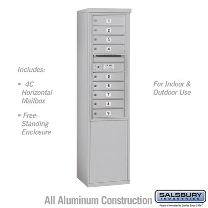 Free-Standing 4C Horizontal Mailbox Unit (Includes 3711S-09 Mailbox and 3911S Enclosure) - 11 Door High Unit (69-1/4 Inches) - Single Column - 9 MB1 Doors