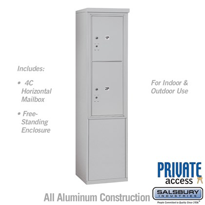 Free-Standing 4C Horizontal Mailbox Unit (Includes 3711S-2P Parcel Locker and 3911S Enclosure) - 11 Door High Unit (69 3/8 Inches) - Single Column - Stand-Alone Parcel Locker - 1 PL5 and 1 PL6 - Private Access