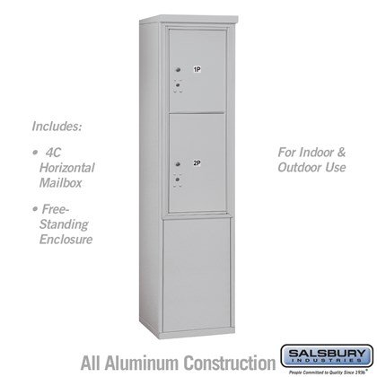 Free-Standing 4C Horizontal Mailbox Unit (Includes 3711S-2P Parcel Locker and 3911S Enclosure) - 11 Door High Unit (69-1/4 Inches) - Single Column - Stand-Alone Parcel Locker - 1 PL5 and 1 PL6